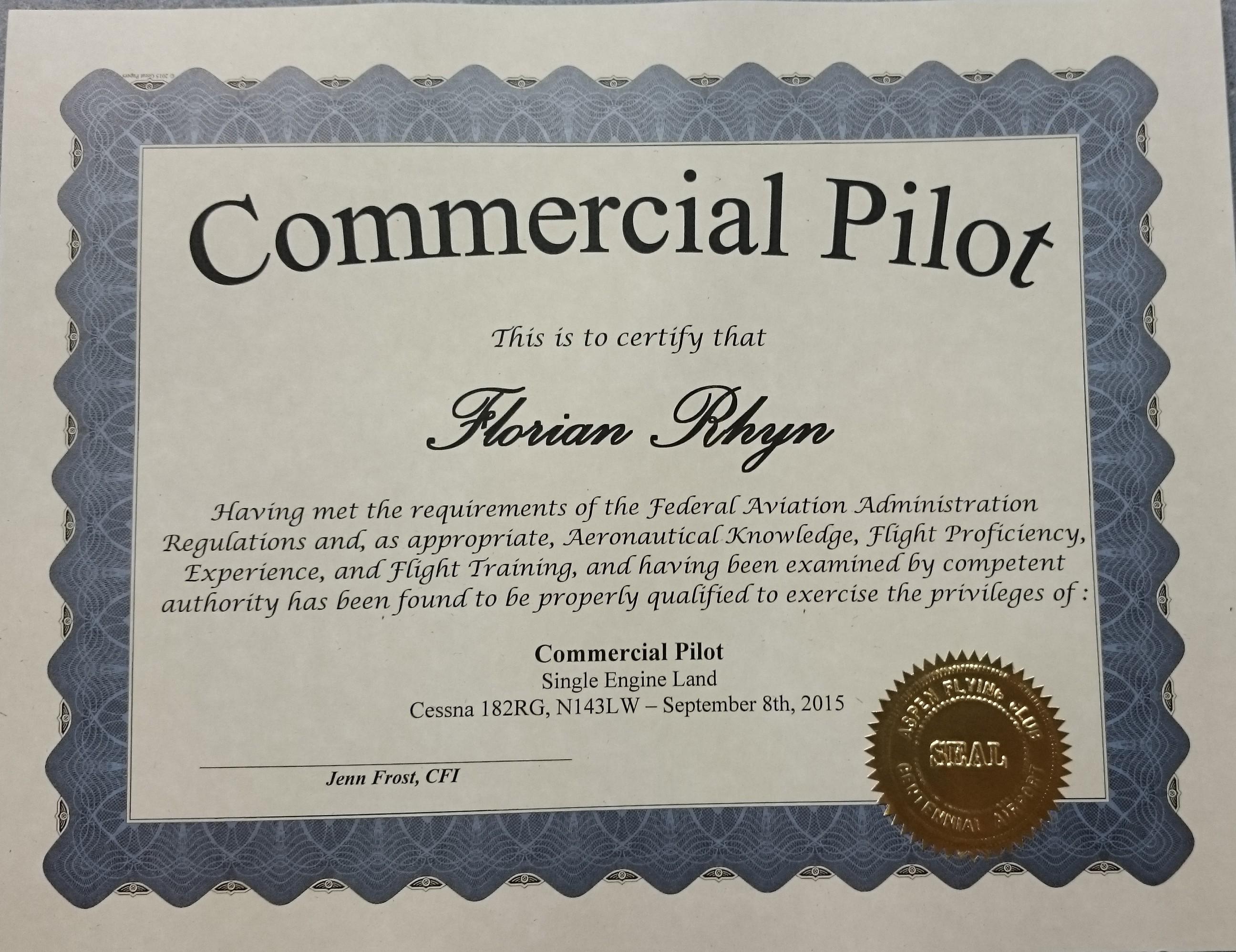 Commercial pilot certificate myclimbrate 2015 09 08 142132 xflitez Images