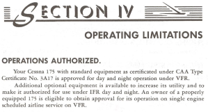 POH section 4 operating limittions - kind of operation IFR VFR day night