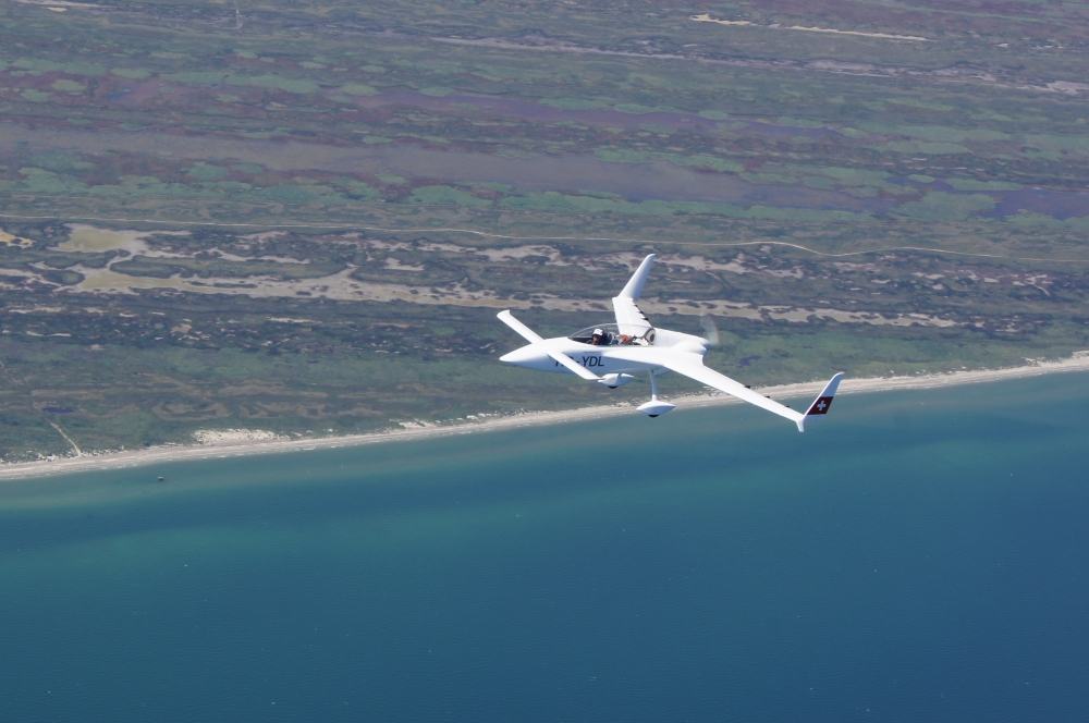 Rutan VariEze over the Danube Delta, Black Sea