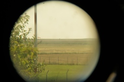 Windsock through telescope at aviator bar at Tuzla airfield, Romania