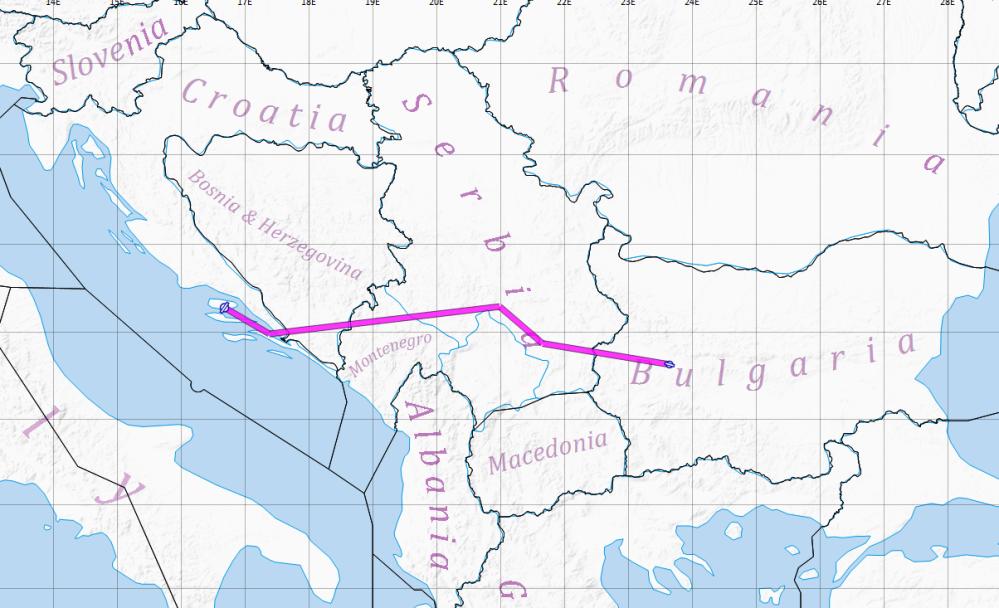 Lesnovo Bulgaria to Brac Croatia.png